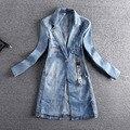 Primavera otoño mujer denim jacket coat 2017 vintage botón único de manga larga moda mujer jeans coat casual chicas outwear e605