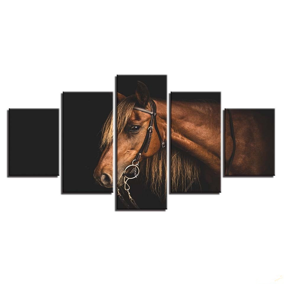 Home Decor Cuadros High Quality 5 Panels Animal Horse Print Painting For Living Room Modular Pictures Unframed Canvas Poster