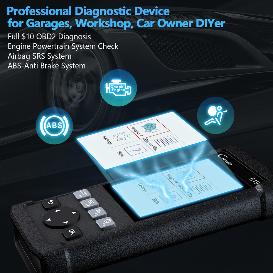 Launch CR619 OBD OBD2 Auto Scanner Read ABS Airbag Errors and Turn off ODB  2 Automotive Scanner Multi Language Code Readers