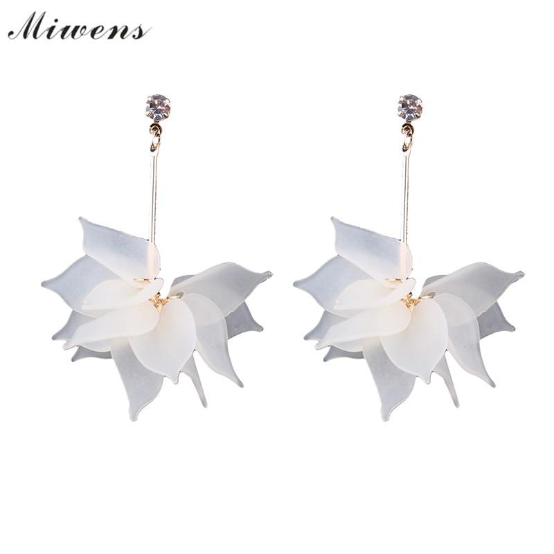 Miwens brand 2017 New two color earrings petal earrings female pendant earrings female jewelery wholesale 7209 7210