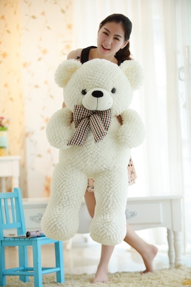 stuffed animal plush 120cm tie teddy bear plush toy white teddy bear doll gift t6115