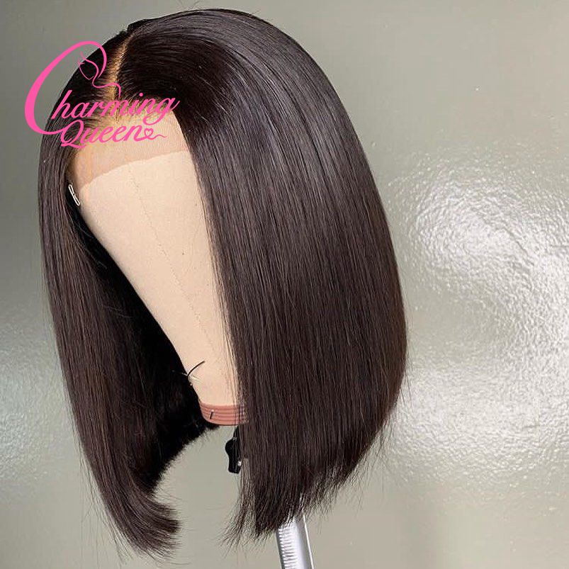 13 4 Lace Front Human Hair Wigs Blunt Cut Bob Wigs For Black Women Pre Plucked
