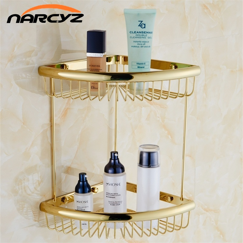 Bathroom Shelves Golden Brass Material With Robe Hook 2-Tier Bathroom Storage Basket Wall Mounted Bathroom Shelf Silver 9097K black bathroom shelves stainless steel 2 tier square shelf shower caddy storage shampoo basket kitchen corner shampoo holder
