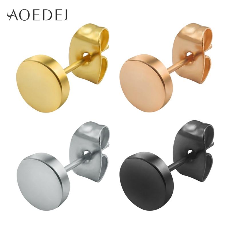 3 14mm round men earring stainless steel small ear studs for Men s jewelry earrings