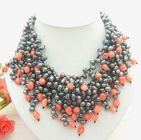 17 4Strands Black Pearl Pink Coral Necklace