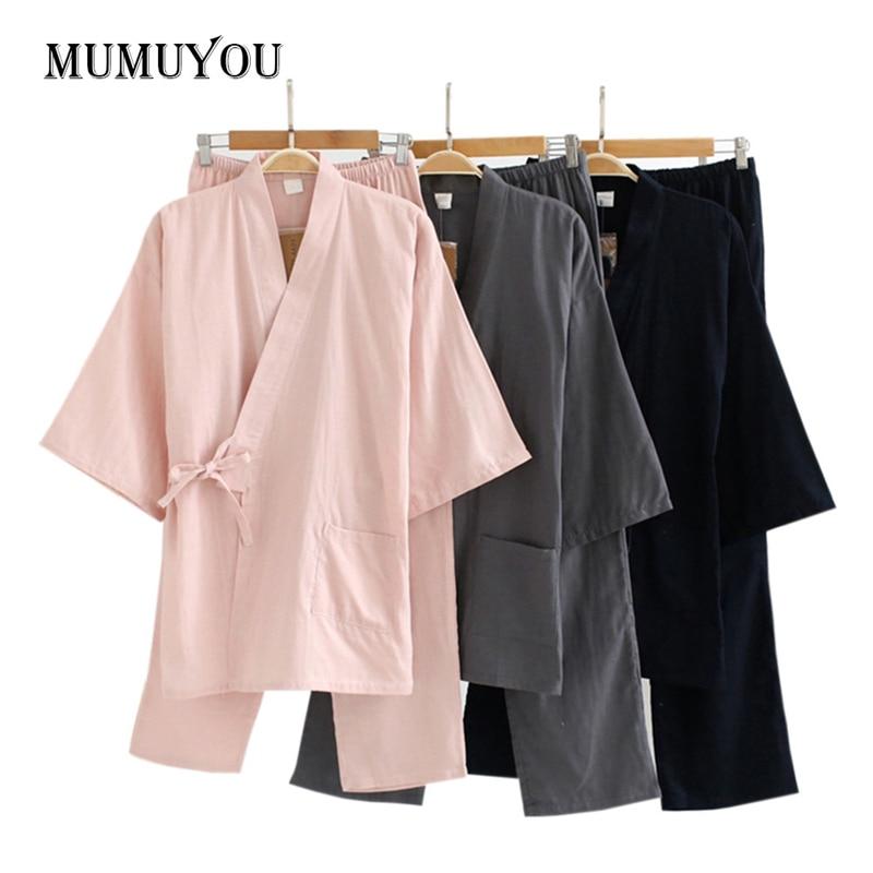 Women   Pajama     Sets   Summer Kimono Japan Style Cotton Sleepwear Full Length Trousers 3/4 Sleeve V-neck Tops Nightwear New 204-139