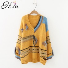 H.SA Women Sweater 2018 Long Sleeve Tassel Pull Sweater and Jumpers V neck Vintage Pull Femme Winter Casual Sweater Suter Mujer