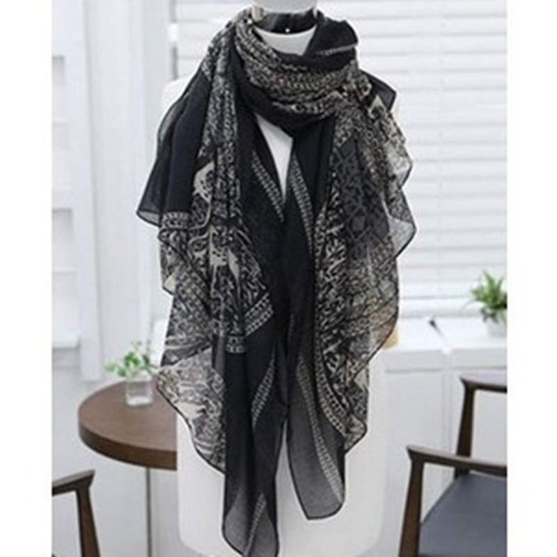 Autumn Winter New Totem Scarves Large Super Long Thin and Light Voile Silk Shawl Scarf Small Black Deer Print Women Outdoor Wrap