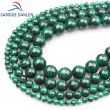 CAMDOE DANLEN Natural Stone Chrysocolla Green malachite Round Beads 4 6 8 10 12 14MM Fit DIY Bead For Jewelry Making Accessories