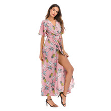Sexy High Split Long Dress Bohemian Pink Pineapple Flower Printed Summer Beach Dress For Women(China)