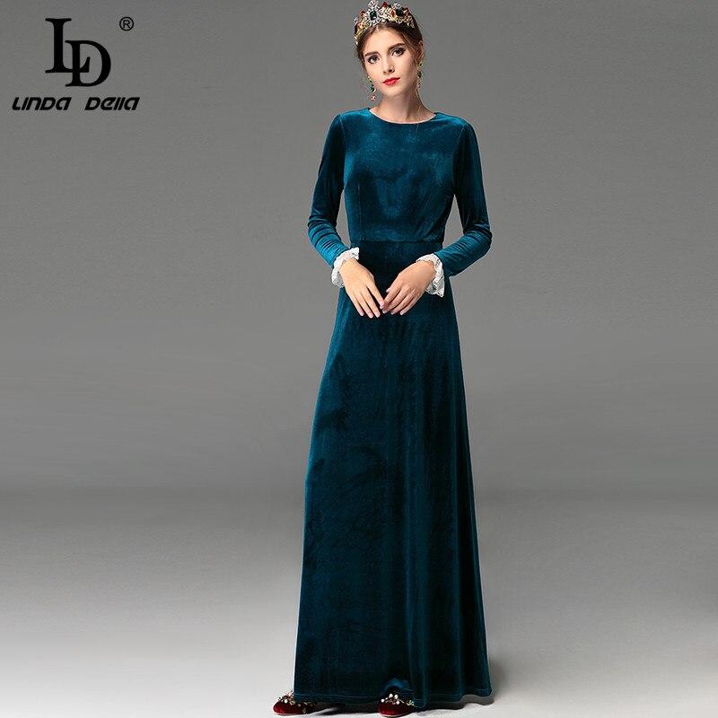 High Quality Vintage Winter Maxi Dresses Floor Length Women Elegant Long Party Dress Long Sleeve Warm Velvet Dress