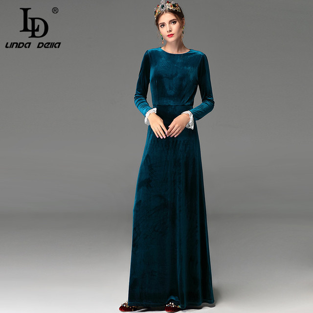 2788907b02b815 LD LINDA DELLA Vintage Winter Maxi Dresses Floor Length Women Elegant Long  Party Dress Long Sleeve Warm Velvet Dress