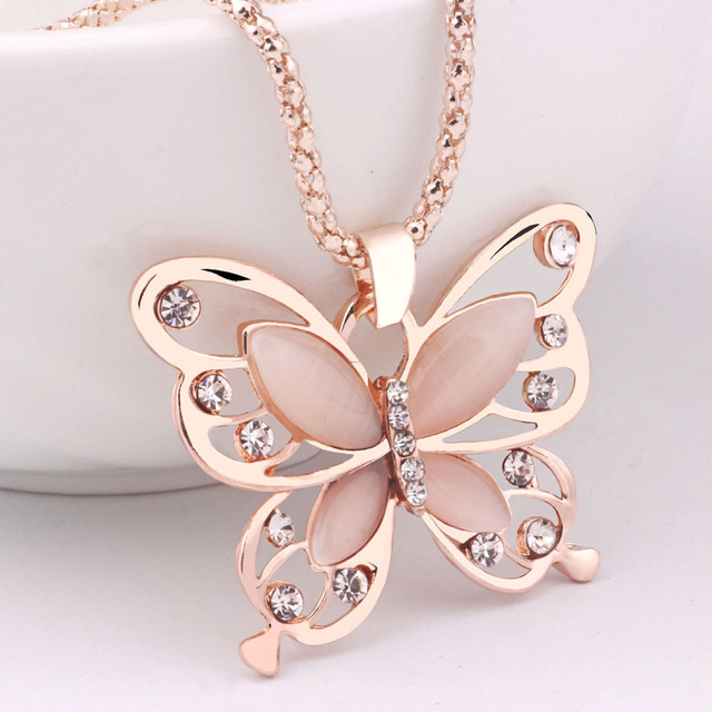 a8f39fe7e 2018 New Fashion Necklace Women Fashion Womens Lady Rose Gold Opal  Butterfly Pendant Necklace Sweater Chain Gift Charm Necklace