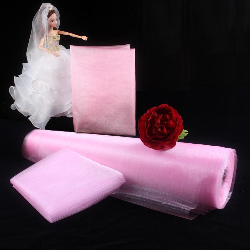 Haochu 50 м x 150 см Свадебный декор прозрачная органза Ткань Узкие скатерти эскалатор у ...