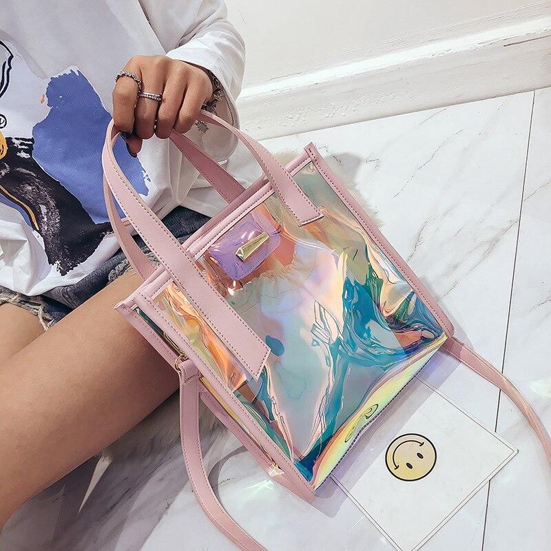 Women Transparent Hologram Laser Famous Brand Shoulder Bags Clear Beach Bag Rainbow Jelly Handbag Holographic PVC Tote