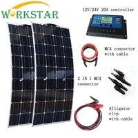 2 шт. 100 Вт солнечные панели с 20A Солнечный контроллер с быстрое подключение кабелей 200 Вт дом использование солнечной энергии системы