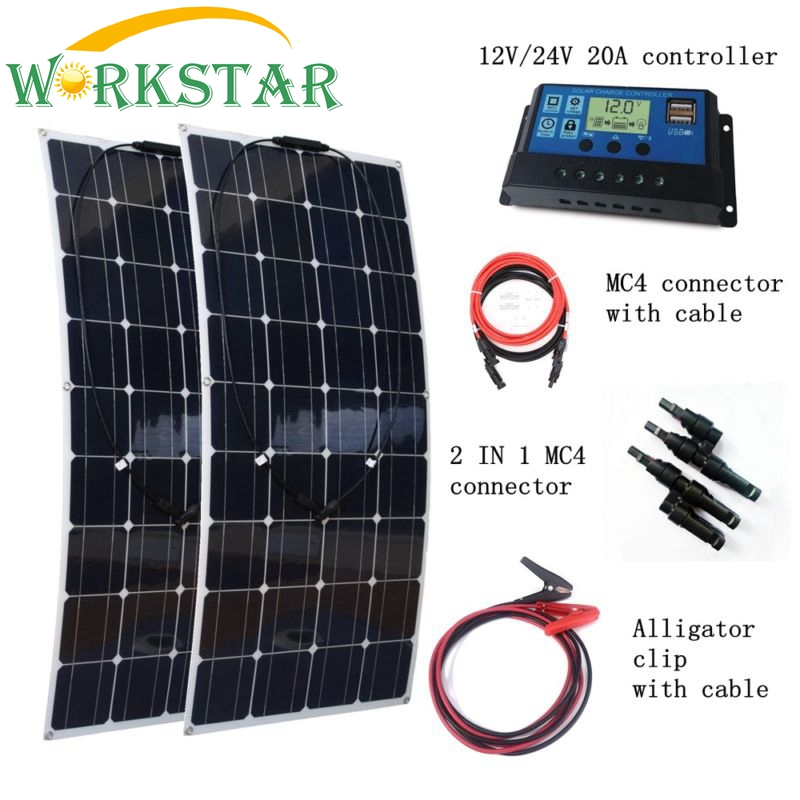 2pcs 100W Solar Panels with 20A Solar Controller with Quick Connection Cables 200W House-use Solar Power System