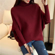 OHCLOTHING Female winter sweater loose turtleneck sweater 2019 irregular Korean female backing sweater coat thick