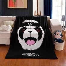 Nueva llegada marca saludable nueva panda de la historieta negro de lana de invierno gruesa caliente manta súper suave alfombra de la cama throw