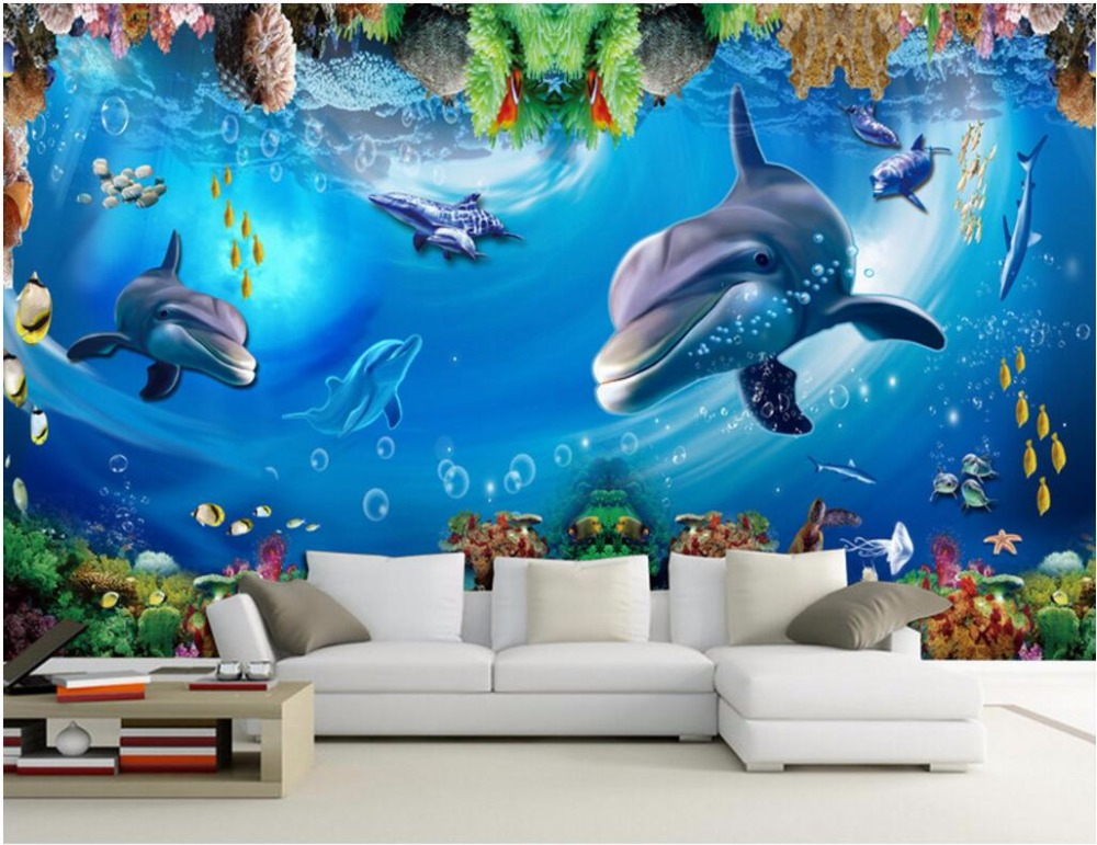 Us 1553 48 Offcustom Mural Photo 3d Room Wallpaper Dolphin And Whale Reefs Painting Picture 3d Wall Murals Wallpaper For Walls 3 D In Wallpapers