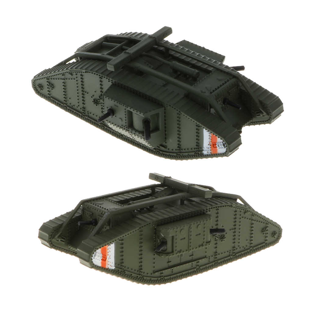 2pcs 1/100 Simulation Diecast Britain MK. IV Male & Female Tank - WWI Armored Army Vehicle Car Model Toy Soldiers Souvenir