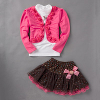 2017 Children Clothing Autumn Winter Baby Girls New Fashion Casual Floral Coat Lace T Shirt Lace