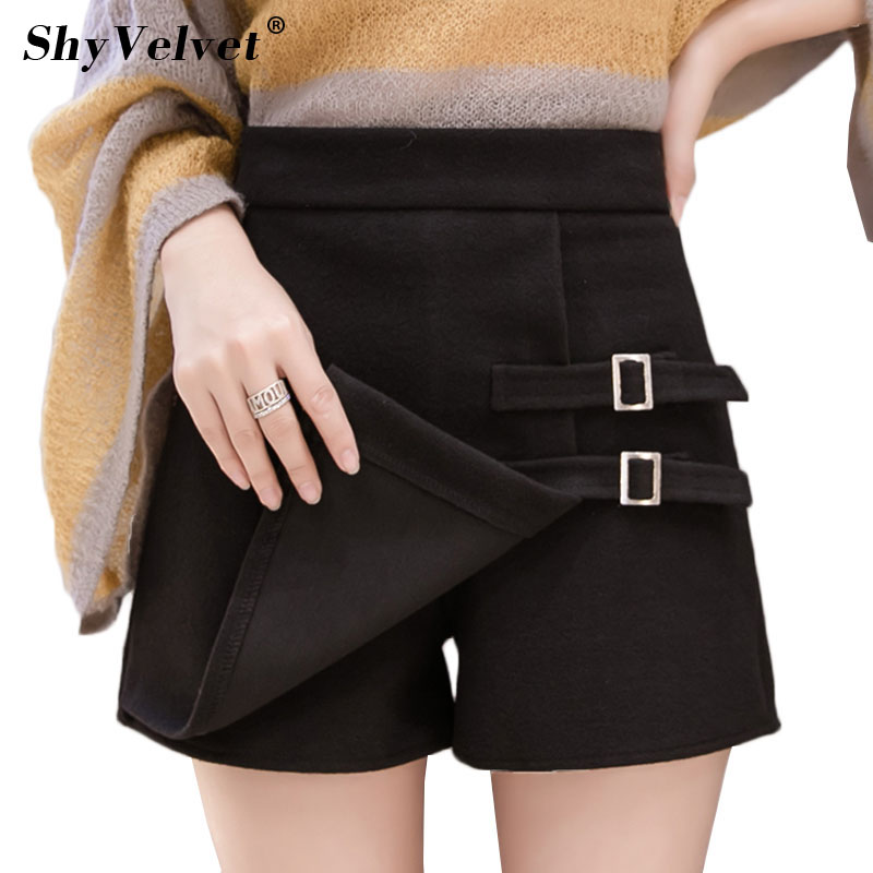 Autumn Winter Women Skirt   Shorts   High Waist Woolen   Short   Femme Irregular Female Casual Skort Culottes Plus Size XXL Buttons