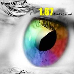 1,67 hohe Index Ultra-dünne Beschichtung Photochrome Grau Single Vision Rezept Linsen Anti-Strahlung UV400 Farbe Ändern Schnelle