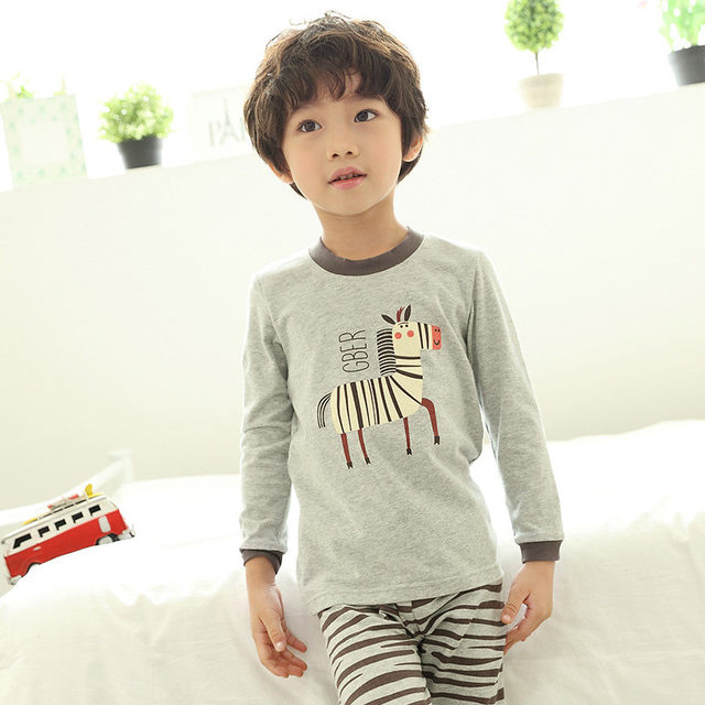 727c40821b Zoe Saldana Boy s Pajamas Sets 2018 New Fashion Spring Autumn Cotton  Cartoon Zebra Pattern Printed Kids Pajama Home Sleepwear