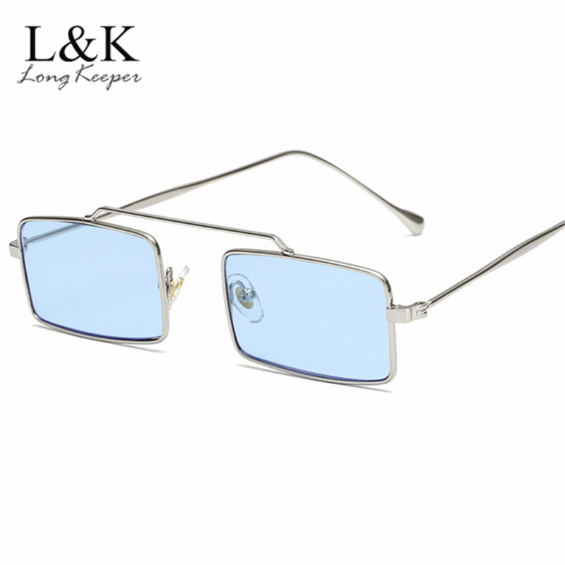 259e42d3a241 Vintage Square Sunglasses Women 2019 Ladies Retro Shade Brand Designer  Rectangle Metal Frame Sun Glasses Ocean Blue Pink-in Sunglasses from  Apparel ...