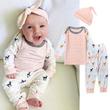 Xmas Newborn Baby Girls Clothing Set Deer Clothes Outfits T-shirt Top Long Pants Casual Hat 3pcs Outfits Christmas Clothes Set