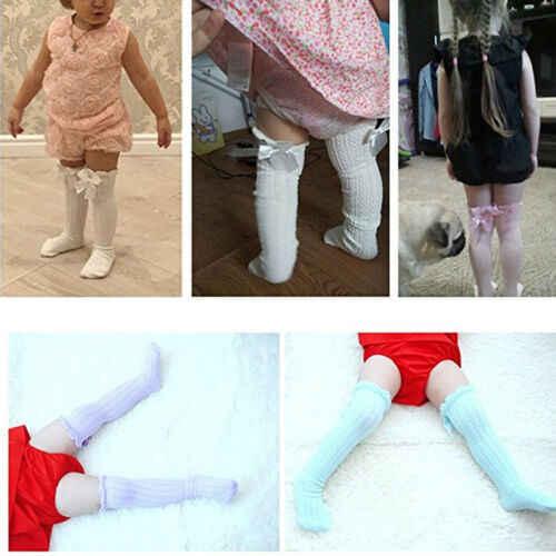 פעוט ילד תינוקת הברך גבוהה ארוך גרבי קשת כותנה מזדמן קיץ תינוק גרביים