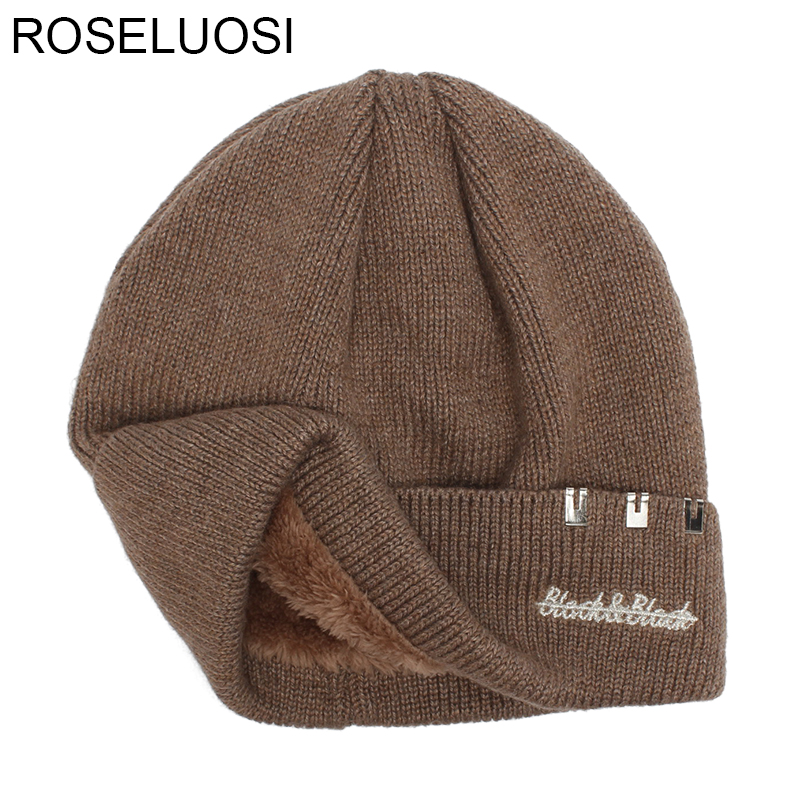 ROSELUOSI 2017 Thick Warm Winter Hats For Men Letter Embroidery Knitted Beanies Women Solid Color Knitted Hat Bone Feminino hat winter thick stickers letter knitted hat wool hat korean embroidery warm hats tide men and women