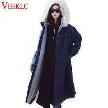 Denim Cotton Parka Women's Winter Long Section 2018 New lambswool Coat Large Fur Collar Students Loose Tide Cotton Clothing Z185(China)