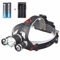 High Quality 5000 Lumen Headlamp Flashlight 3 CREE T6 LED Headlight Torch With 2x 18650 Rechargeable