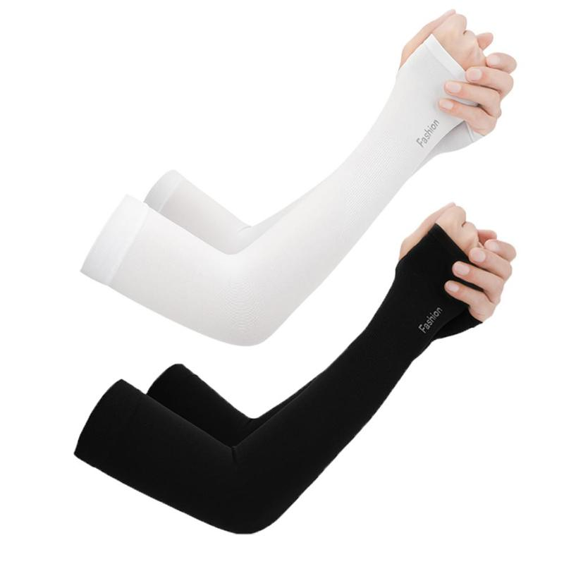 2pcs Ice Silk Sunscreen Cuff Summer Riding Cool Sleeves Running Arm Sleeves Outdoor Sports Tourism Kit College Style Breathable