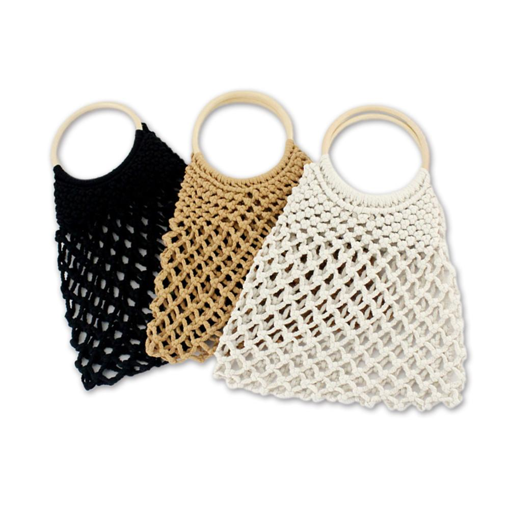 Women's Hollowed-out Net Bag Handmade Casual Fashionable Woven Bag Cotton Shoulder Bag Beach Straw Woven Wristlets Bag