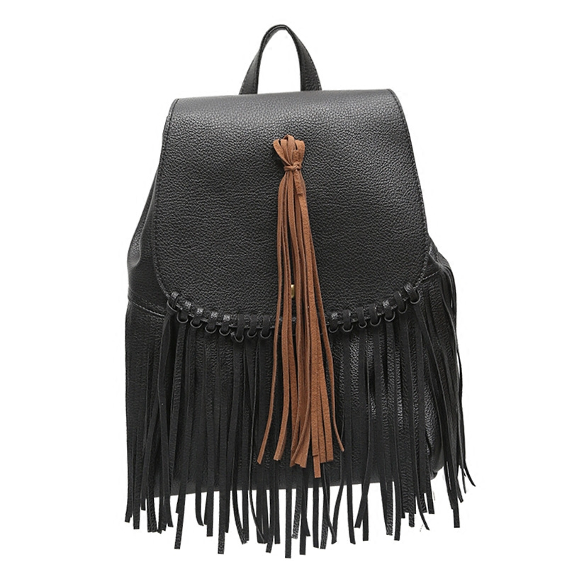 Free Shipping New Arrival Women Fringe Tassel PU Leather Daily Backpack High Quality Brief Casual Female