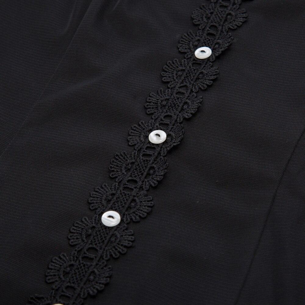 Women robe Vintage Retro Dress 2018 Summer Short Sleeve See-Through Black Tulle Netting Overlay High-Low Gothic Dress vestidos 3