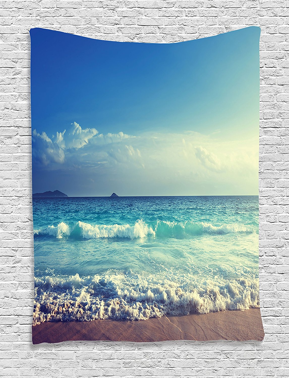 Ocean Tapestry Decor Tropical Island Paradise Beach at Sunset with Waves and the Misty Sea Image, Wall Hanging Tapestry