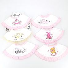 Embroidered lace 360 round rotating bib double cotton baby saliva towel bib fake collar customizable name(China)