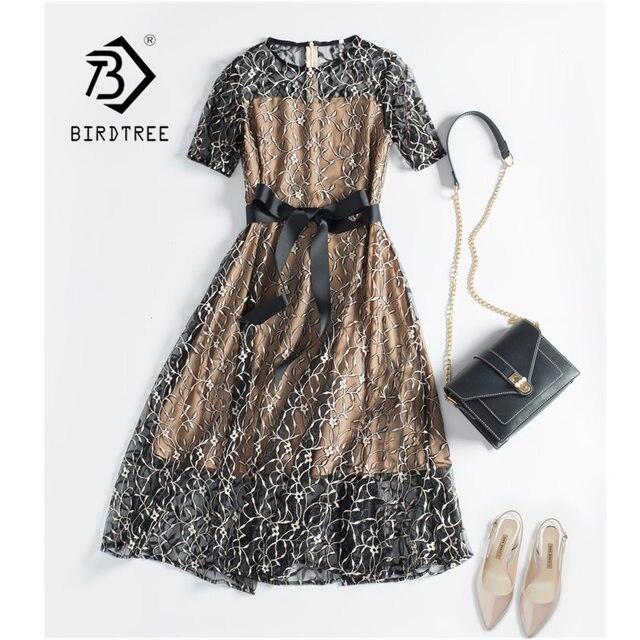 Mulheres rendas falso duas peças bordados zíperes vestidos oco para fora retalhos elegância cintura alta até vestido da senhora do escritório d8d720i
