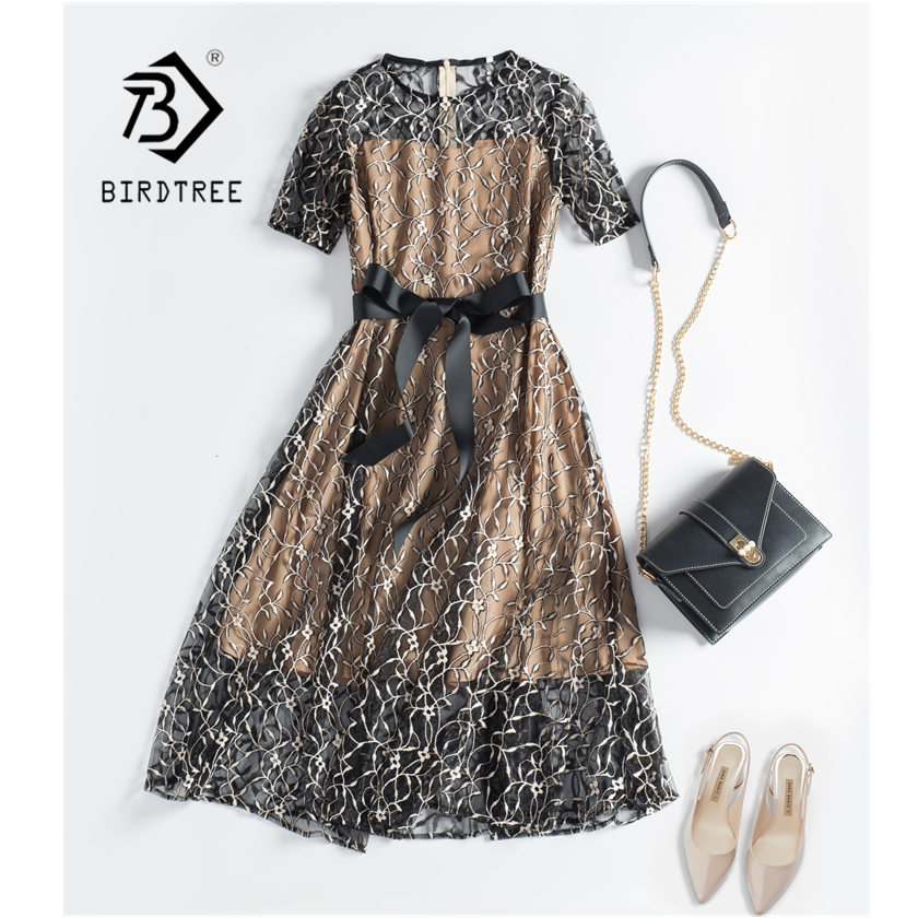 Women Lace Fake Two Pieces Embroidery Zippers Dress Hollow Out Patchwork Elegance High Waist Lace Up Office Lady Dress D8D720I
