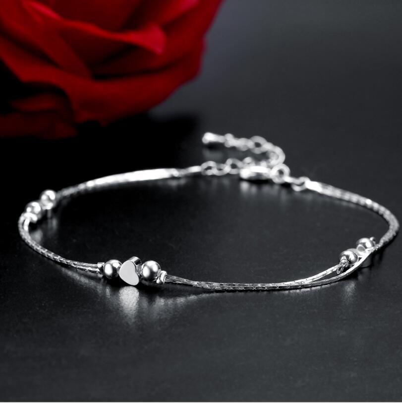 New Fine Quality 925 stamped silver plated double layer slim Anklet Woman Charm Heart Pendant Silver Anklet Bead Luxury Jewelry
