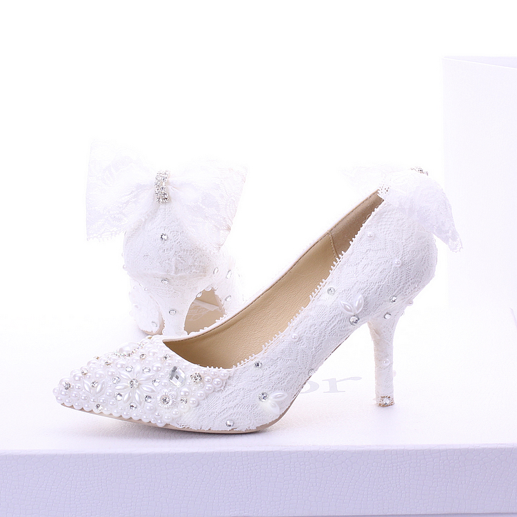 ФОТО Free shipping White pearl Wedding Shoes elegant Lace rhinestone Bridal Shoes thin Heels shallow mouth Shoes 7CM High party black