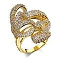 Белого Золота и Позолоченные Уникальные Кольца с AAA + CZ Алмазный Палец Кольцо Высокое Качество Вечеринка Кольца Для Женщин ювелирные изделия