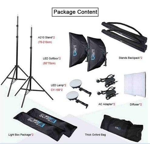 Photographie LED Kit Éclairage Continu LED Lumières + 50x70 cm Softbox + Lumière Stand + Sac pour photo studio