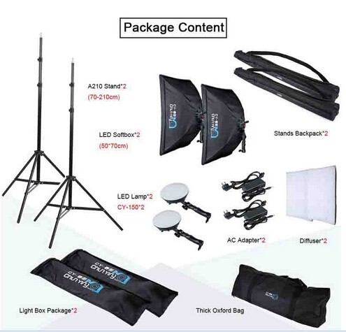 цена на Photography LED Continuous Lighting Kit LED Lights+50x70cm Softbox +Light Stand+Bag for photo studio