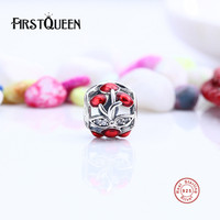 FirstQueen Lovely 925 Sterling Silver Sweet Cherries Openwork Charm Fit Original Bracelets Bangles Women Accessories E
