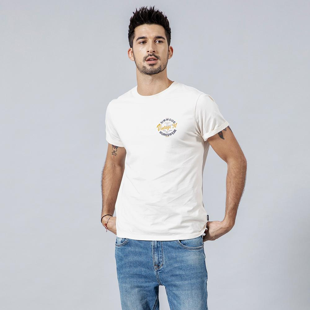 SIMWOOD 2020 Summer T shirt Men 100% Cotton Print Letter T-Shirt Fashion Top Plus Size High Quality Tee Brand Clothing 190154